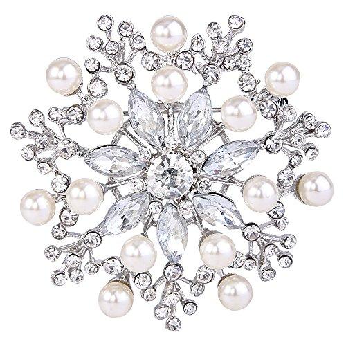 EVER FAITH Women's Clear Austrian Crystal Simulated Pearl Blooming Flower Teardrop Brooch Silver-Tone
