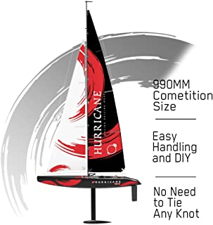 VOLANTEXRC Remote Control Sailing Boat RC Sailboat Hurricane 1-Meter 2.4Ghz 4-Channel Ready to Run (RTR) RG65 Class Competition RC Sailboat Wind Power RC Boat RTR for Beginners, Adults (791-2)