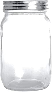 Premium Mason Jars 32 oz by Soul, Crystal Glass, Airtight Stainless Steel Lid, Dishwasher Safe, BPA Free, Bacteria Resista...