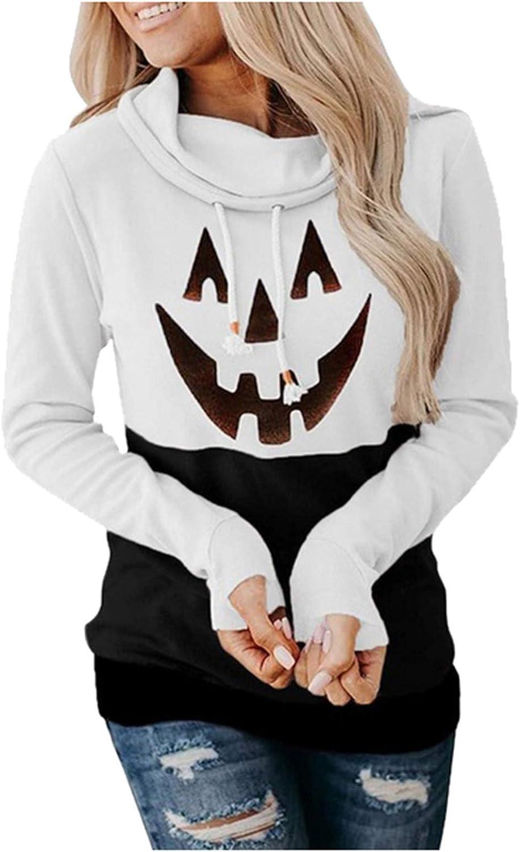 Halloween Anime Hoodie,Women Casual Printing Long Sleeve Hooded Sweatshirts Casual Funny Cute Pumpkin Sweaters Tops