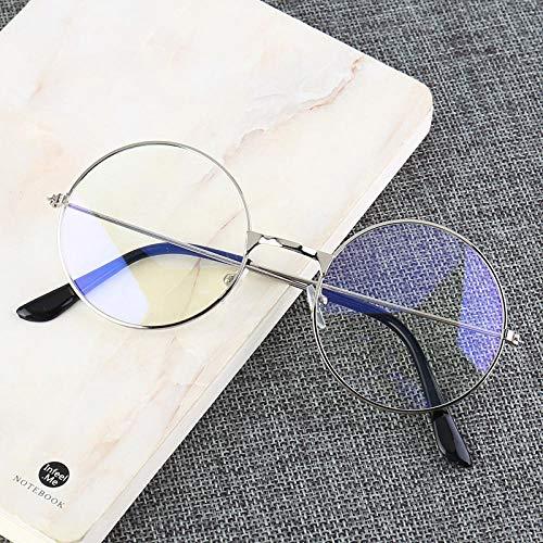Jbwlkj Marco Redondo de Metal Vintage Bloqueo de luz Azul Personalidad Estilo Universitario Lente Transparente Gafas Gafas Protección para los Ojos Juego para teléfono móvil-France_Silver