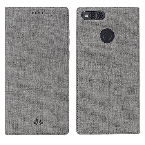 Honor 7X Hülle, dünne Premium PU Leder Flip Handy Schutzhülle | TPU-Stoßstange, Magnetverschluss, Kartenschlitz, Kameraschutz- und Standfunktion Brieftasche Etui (Grau)