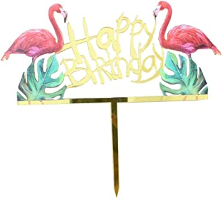HAPPY BRITHDAY Cake Topper - Gold Glitter Cake Topper Birthday Party Decoration Supplies (Flamingos)