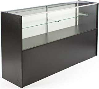 Free-Standing Glass Display Case with Black Melamine Finish, 70 x 38 x 18-Inch, Built-in Storage Base, and Sliding Rear Doors