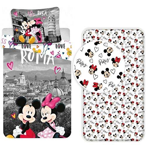 Disney Minnie Roma Parure de lit 3 pièces pour lit 1 place avec housse de couette + taie d'oreiller + drap-housse en coton