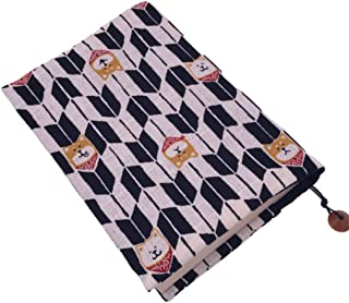 ブックカバー 柴犬柄×矢羽根模様 文庫本サイズ そろばん玉のしおり付き ハンドメイド和雑貨 日本製