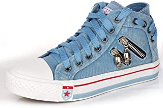 Canvas Shoes Sneakers High Top Denim Shoes Skull Lace-up Women's Shoes Casual Single Shoes Lightweight Sneakers Comfortabl...
