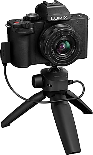 Panasonic Lumix G100 4K Mirrorless Vlogging Camera (Black) with Bluetooth Tripod Grip, Built-in Mic & 12-32mm Lens, Micro Four Thirds Sensor, Flip Screen, 5-Axis is, 4K 24p 30p Video (DC-G100VGW-K)