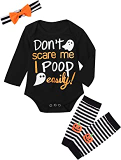 Dramiposs Baby Girls Halloween Ghost Outfits Set Don't Scare Me I Poop Easily Bodysuit with Leggings