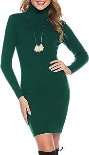 Hawiton Vestito in Maglione Donna, Vestito Collo Alto Donna Invernale, Vestito Elegante Donna di Vita Alta, Abito in Magli...