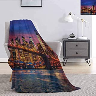 New York Rugged or Durable Camping Blanket NYC That Never Sleeps Reflections on Manhattan East River City Image Photo Print Warm and Washable W80 x L60 Inch Pink Blue