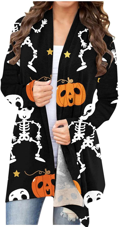 AIHOU Halloween Clothes for Women Pumpkin Face Black Cats Skeleton Print Cardigan for Women Long Sleeve Coat Comfy Blouses