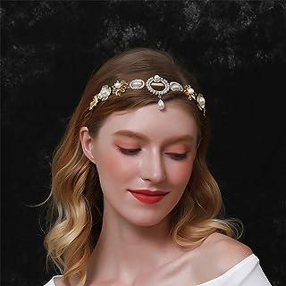 Aimimier Baroque Pearl Floral Headband Vintage Pearl Teardrop Crown Delicate Bridal Rhinestone Hair Hoop for Women and Girls