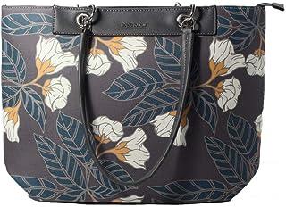 David Jones CM5398 Grey Floral Medium Tote Handbag
