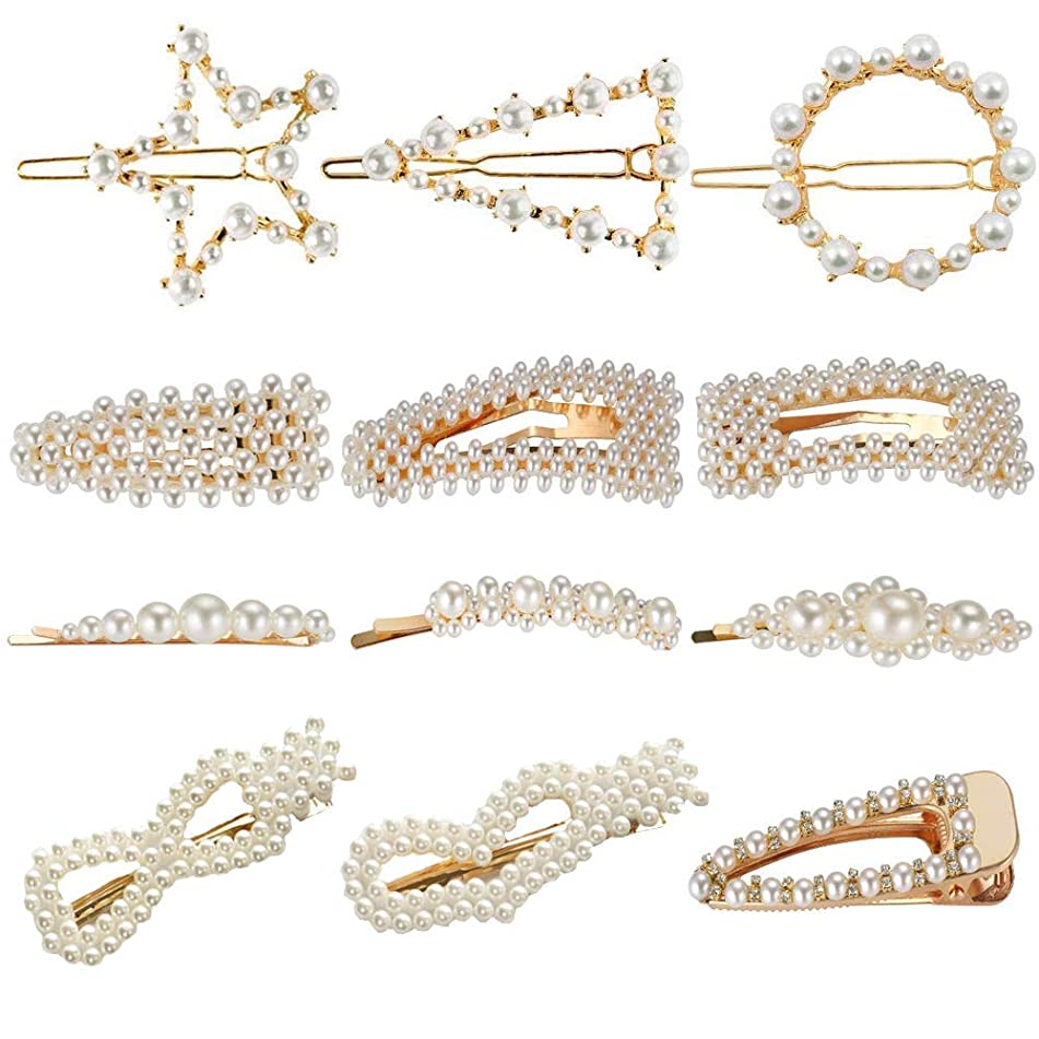 Pearls Hair Clips for Women Girls 12pcs Hair?Barrettes 4 Types Hair?Barrettes for Birthday Valentines Wedding Bridal Day Head Wear Accessories
