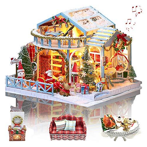 GuDoQi Casas de Munecas Miniaturas Nochebuena con Música, Casa Miniatura para Montar, DIY Manualidades Adultos, Maquetas para Construir Adultos, Regalos Originales para Madres, Novia y Niñas