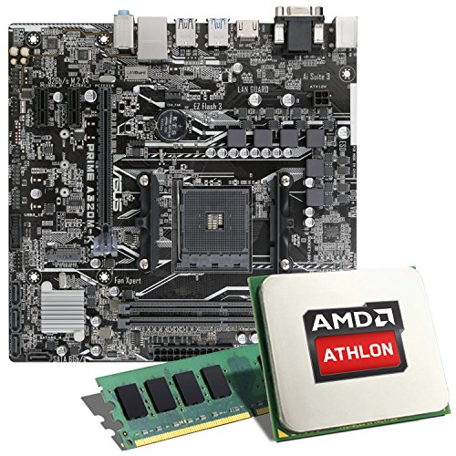 AMD Athlon 3000G / ASUS Prime A320M-K Mainboard Bundle / 4GB | CSL PC Aufrüstkit | AMD Athlon 3000G 2X 3200 MHz, 4GB DDR4-RAM, GigLAN, 7.1 Sound, USB 3.1 | Aufrüstset | PC Tuning Kit