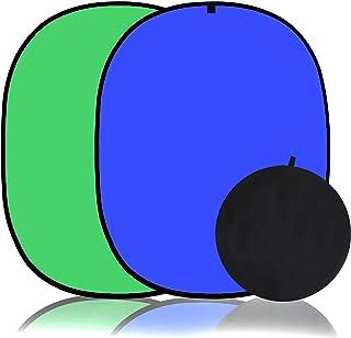 Koopro 1,5 x 2,1 m faltbarer Twist Hintergrund, doppelseitig, Pop Up Flex Hintergrund, Chroma Blau & Grün, Hochformat, professionelle Video Fotografie und Fernsehstudio Requisiten mit Tragetasche