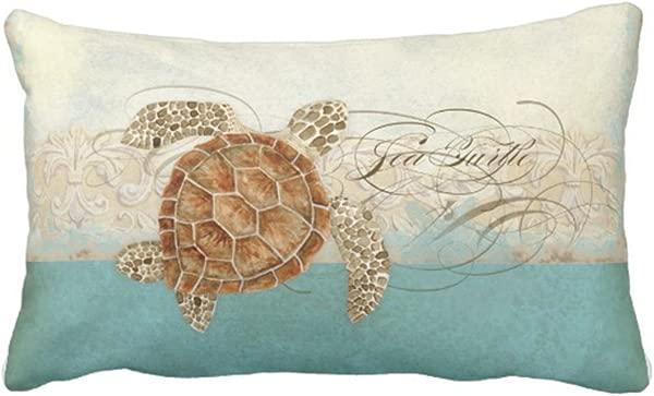 Jbralid Sea Turtle Modern Coastal Ocean Beach Swirls Style Pillow Cover Cotton Linen Indoor Decor Throw Pillow Case 12x20 In
