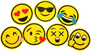 Emoji Iron On Patch - Emoticon Faces Clothing Appliques, Pack of 7, 2 1/2 Inch