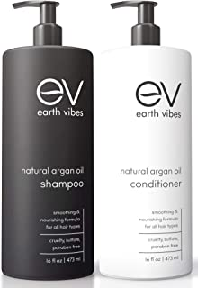 Earth Vibes Organic Moroccan Argan Oil Shampoo & Conditioner Set - (2x 16oz /473mL) - Sulfate Free - Made With Jojoba Oil, Coconut Oil - Moisturizing - Repairs All Hair Types - For Men & Women