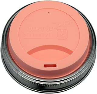 MJL Silicone Drinking Lids with Stainless Steel Bands for Mason Jars (2 Pack, Light Coral, Wide Mouth)