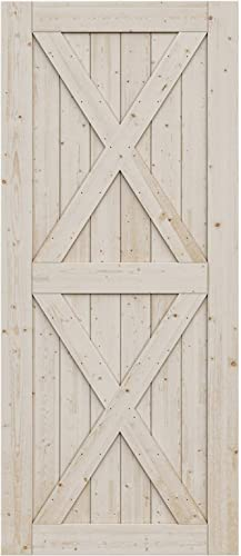 wholesale SmartStandard 36in sale x high quality 84in Sliding Barn Wood Door Pre-Drilled Ready to Assemble, DIY Unfinished Solid Spruce Wood Panelled Slab, Interior Single Door Only, Natural, 2X-Frame (Fit 6FT-6.6FT Rail) sale