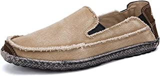 2019 Mens Loafers Canvas Casual Driving Loafer for Men Boat Moccasins Washed Canvas Personality Breathable Leisure Low Top Round Toe Shoes (Color : Apricot, Size : 7.5 UK)
