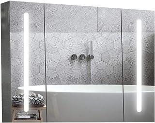 Miroir de salle de bain LED Lighted salle de bains armoire de toilette avec miroir armoire à pharmacie Recess ou montage e...