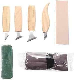 SYCASE Herramientas para tallar en madera Set 7 en 1 Cuchillo para cincelar para tallar madera Herramientas básicas para cortar madera Herramientas de bricolaje Detalle