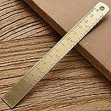 jiarun Regla recta de latón vintage para estudiantes creativo triángulo de metal regla transportador papelería herramienta de medición suministros escolares 15 cm regla