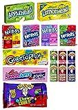 American Sweets Candy Gift | Caja de nerds, cuerda de dulces, spray agrio, cabeza de manzana, cabeza de limón, cubos masticables |