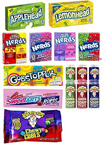 American Sweets Candy Geschenk   Nerds Box, Sweetarts Seil, Sauer Spray, Apfelkopf, Zitronenkopf, Kauwürfel  