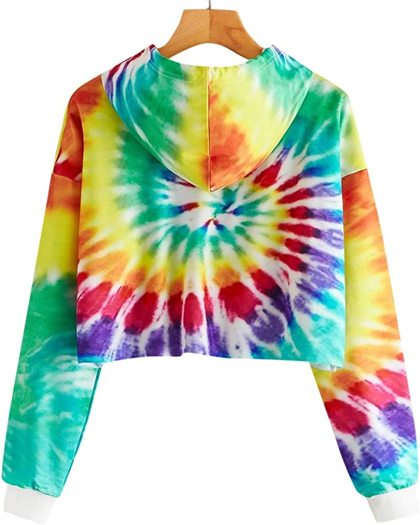 POTO Women Pullover Tops,Teen Girls Fashion Hollow Out Hoodies Solid Crop Top Long Sleeve Hooded Pullover Sweatshirts