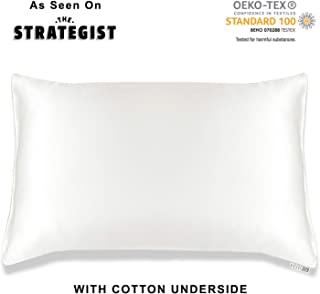 MYK Silk Pure Natural Mulberry Silk Pillowcase, 19 Momme with Cotton Underside for Hair & Skin, Oeko-TEX Certified, Hypoallergenic, Curly Friendly, Standard Size in Undyed Ivory White