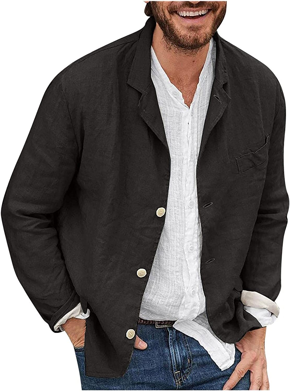 WUAI-Men Casual Linen Tailored Blazer Lightweight Long Sleeve Open Front Button Down Suit Jackets Sport Coat T-Shirts