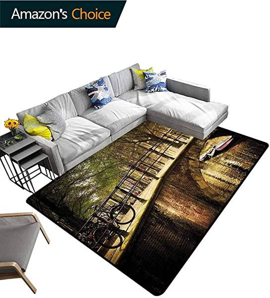 TableCoversHome Landscape Vegetables Area Rug Boys Room Romance Bridge Canal Pattern Printing Door Mat Easy Maintenance Area Rug Living Room Bedroom Carpet 5 X 8