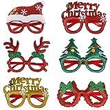 Gafas de Navidad,6 Piezas Monturas Gafas 3D Gafas Decorativas Navideñas para Niños,Adultos,Regalos de Navidad