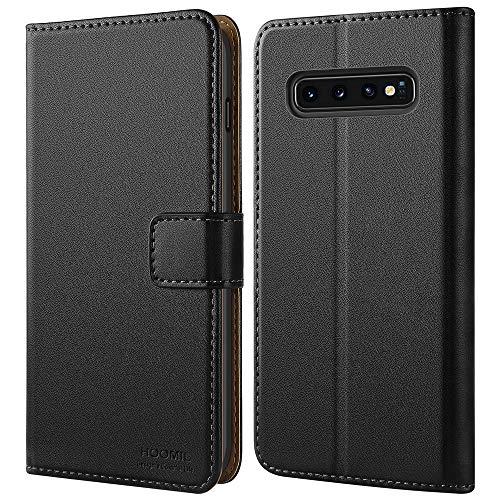 HOOMIL Handyhülle für Samsung Galaxy S10 Hülle, Premium Leder Flip Schutzhülle für Samsung Galaxy S10 Tasche - Schwarz