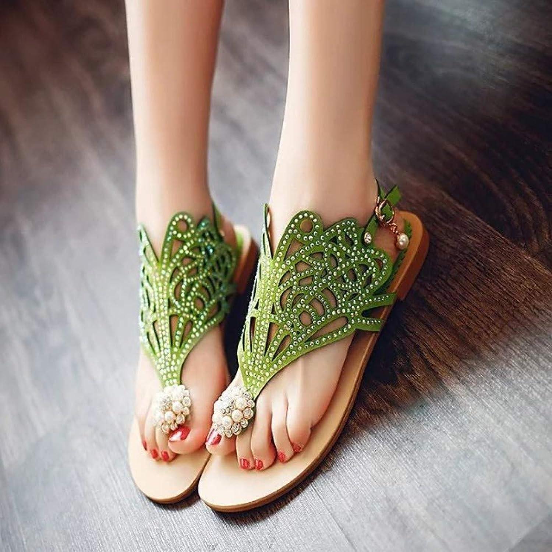 QIMITE Flip-Flop Schuhe Flache Sandalen Mode Sommer Schuhe Frauen niedrig Heels Party Dame Sandalen Frauen Grün