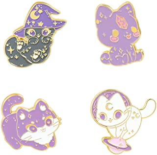 Cute Animal Enamel Brooch Pins Cartoon Cat/ Kitten Pin Set with Cat Sitting/ Crawling/ Standing On a Planet/ Wearing a Mag...