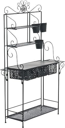 CLP XL Table de culture SHINE LORAVILLE de fer avec 4 étagères et tiroirs 3 paniers (jusqu'à 5 couleurs choisissent) noir