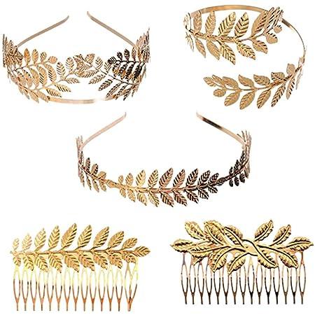 NUOBESTY Bracciale Corona Foglie Alloro Golden Leaves Tiara Head Hair Hair Comb Costume