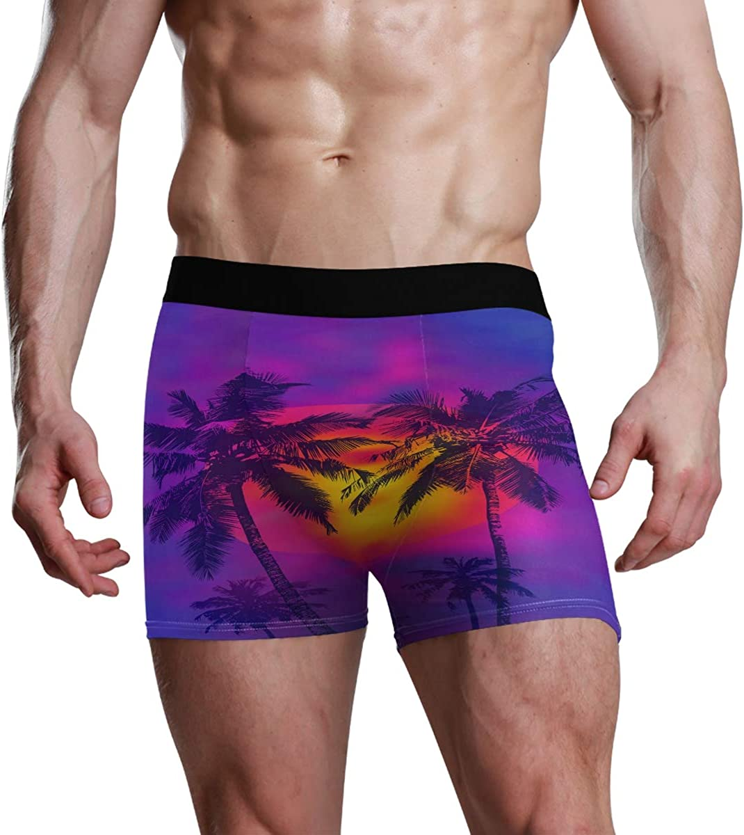 Mens Underwear Briefs Tropical Sunset and Full Moon Breathable Long Boxer Briefs Underwear Boys