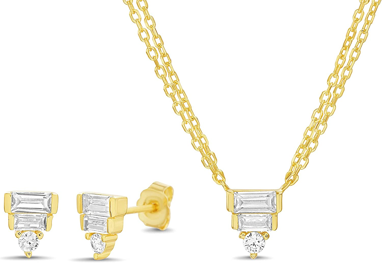 Badgley Mischka Baguette Cubic Zirconia Triangle Stud Earrings and Double Layered Necklace for Women Yellow Two Piece Set Adjustable 16 - 18 Inches