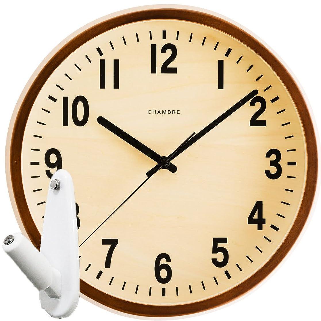 簡略化する疑い者狐CHAMBRE PUBLIC CLOCK CH-027 + 壁の穴が目立ちにくい時計用壁掛けフック 2点セット 掛け時計 掛時計 壁掛け時計 壁掛時計 フック おしゃれ シャンブル パブリッククロック INTERZERO (カフェブラウン)