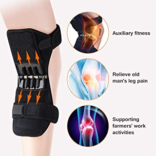 Mixen Power Lift Leg Knee Joint Support Pads Brace Powerful Rebound Spring Force Powerlift Knee Protection Booster for Running, Basketball, Weightlifting, Gym, Sports