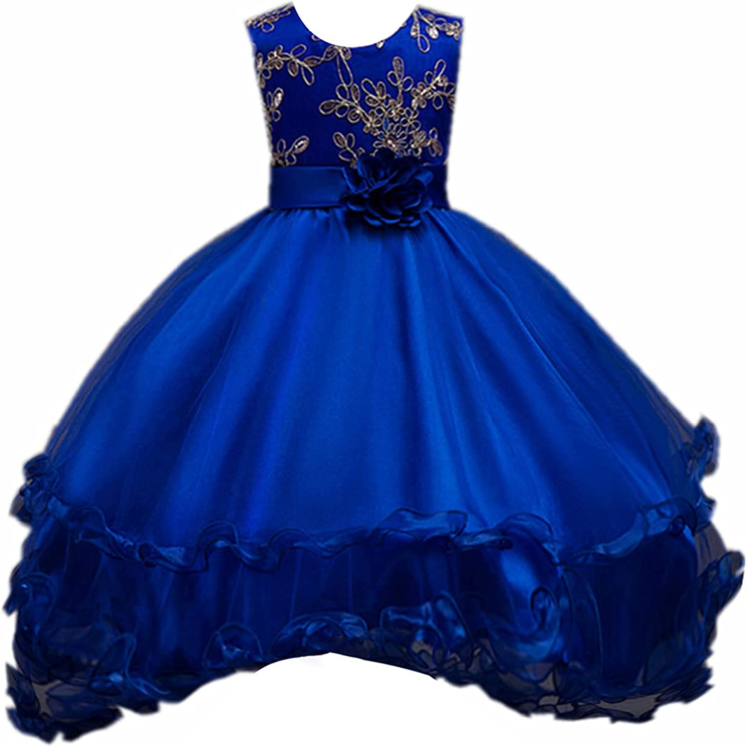 YONGHS Kids Girls Embroidery Pageant Princess Dress Sleeveless High Low Flower Girl Dress for Special Occasion