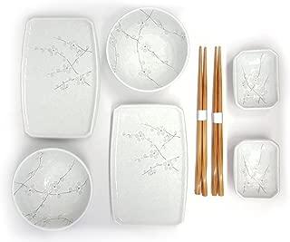 Happy Sales 8 Piece Japanese Cherry Blossom Dinnerware Set, White