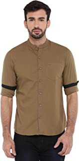 Chennis Mens Causal Shirt(Olive)